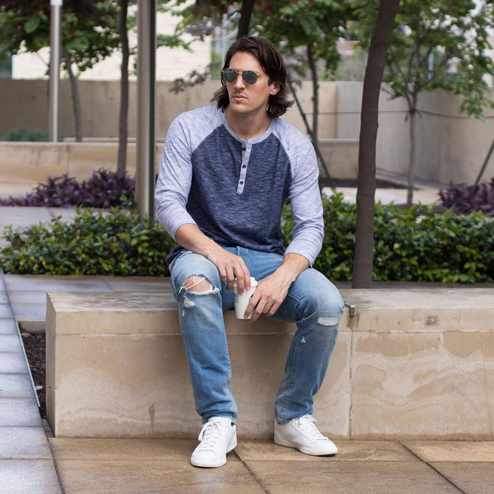 @Dylanbenjam Instagram Male Fashion Blue Baseball Henley