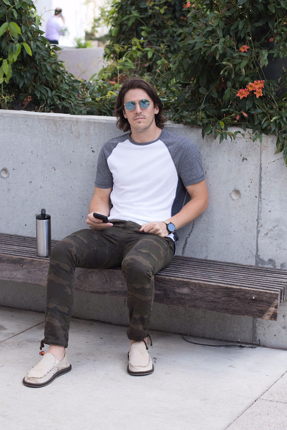 Dylanbenjam Instagram Male Fashion Baseball Tee and Camo Joggers
