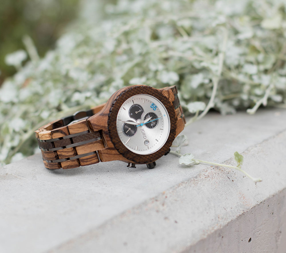 Jord Wood Watch White Chronograph
