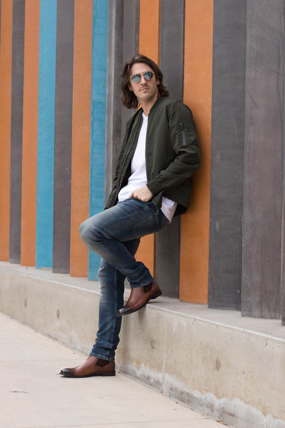 Steve Madden Brown Chelsea Boots with Jeans, White Shirt and Green Bomber Jacket