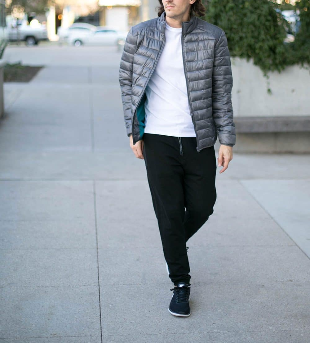 Grey Puffer Jacket, White Tee, Black Joggers, Black Shoes