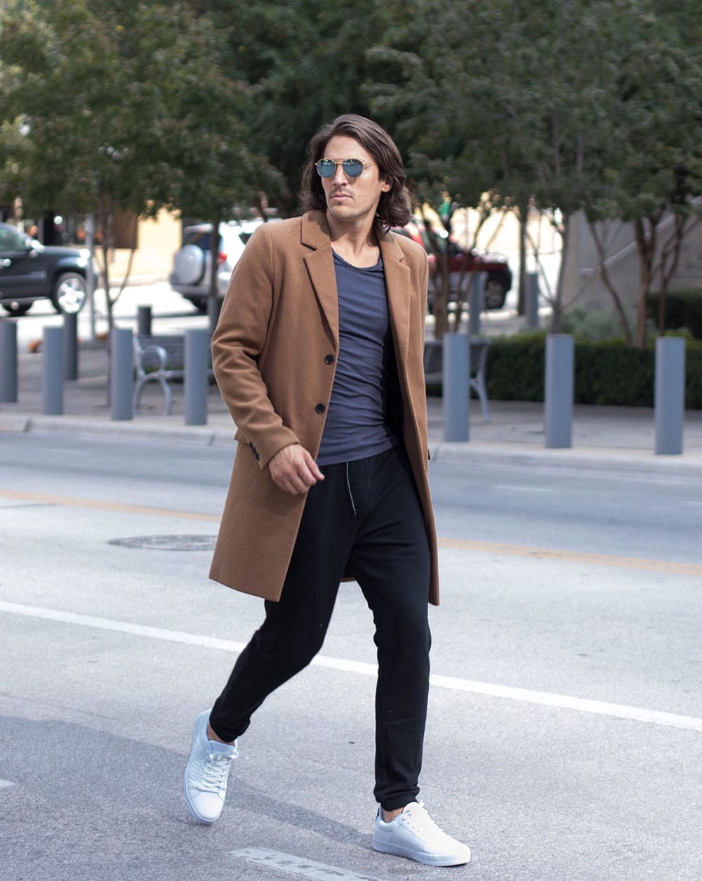 Camel Overcoat with Black Joggers and White Shoes