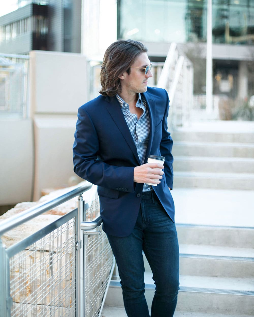 Navy Suit with Blue Button Up Shirt