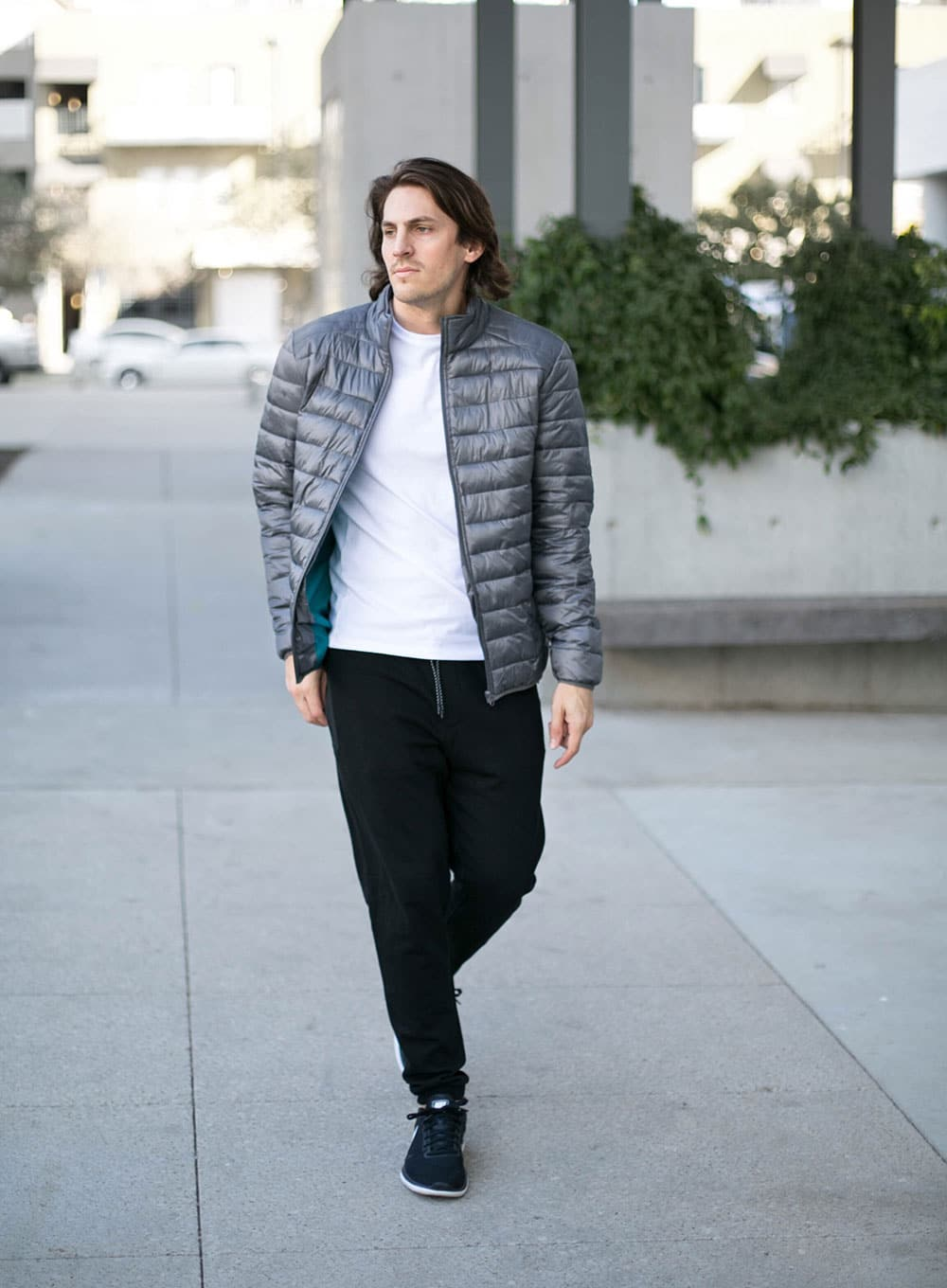 Grey Puffer Jacket - Black Joggers - and Black Sneakers
