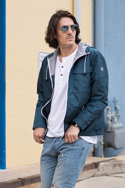 Distressed Jeans, White Henley, Blue Rain Jacket 2