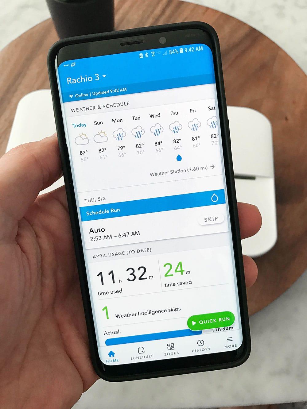 Rachio 3 App Dashboard