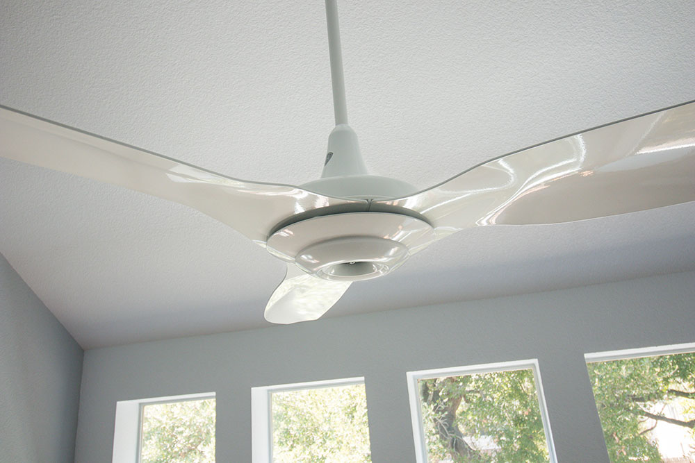 "Close up of Haiku 84"" White Aluminum Ceiling Fan"