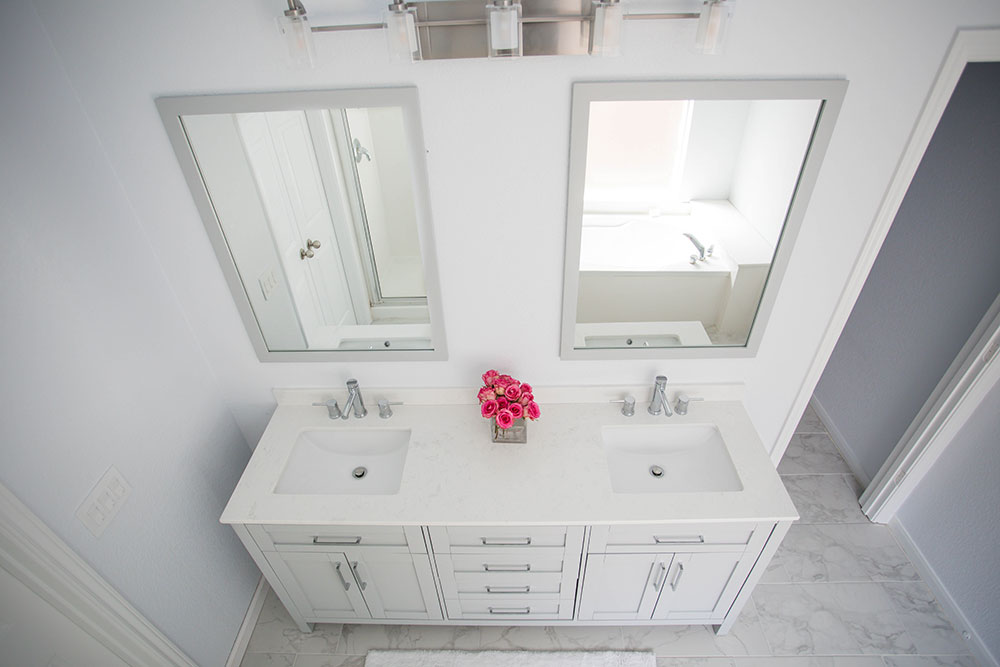 AllModern White Bathroom Renovation Top View with My Son