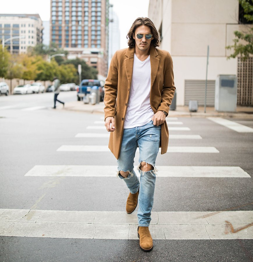Men's Camel Coat With Distressed Denim and Brown Suede Chelsea Boots 2
