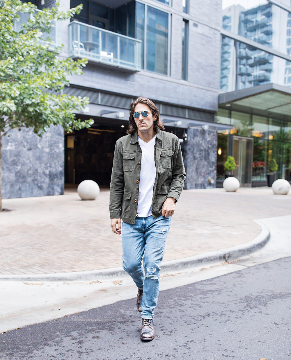 Crossing Street in Mens Green Military Jacket - White V Neck Tee - Distressed Denim - Black Distressed Boots BED | STU