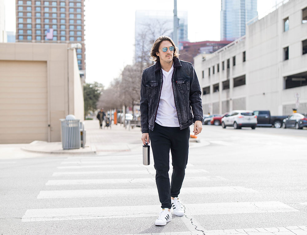 Sherpa Lined Black Denim Jacket, Black Joggers, and Adidas Superstar white Sneakers