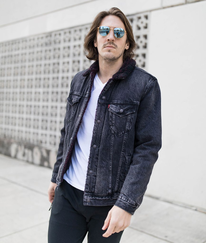 Sherpa Lined Black Denim Jacket with White v-neck tee