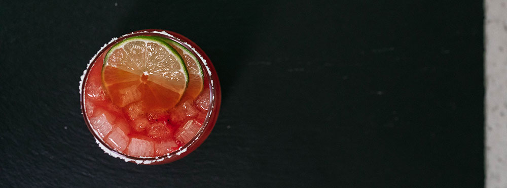 Strawberry Margarita made with Nugget Ice Long