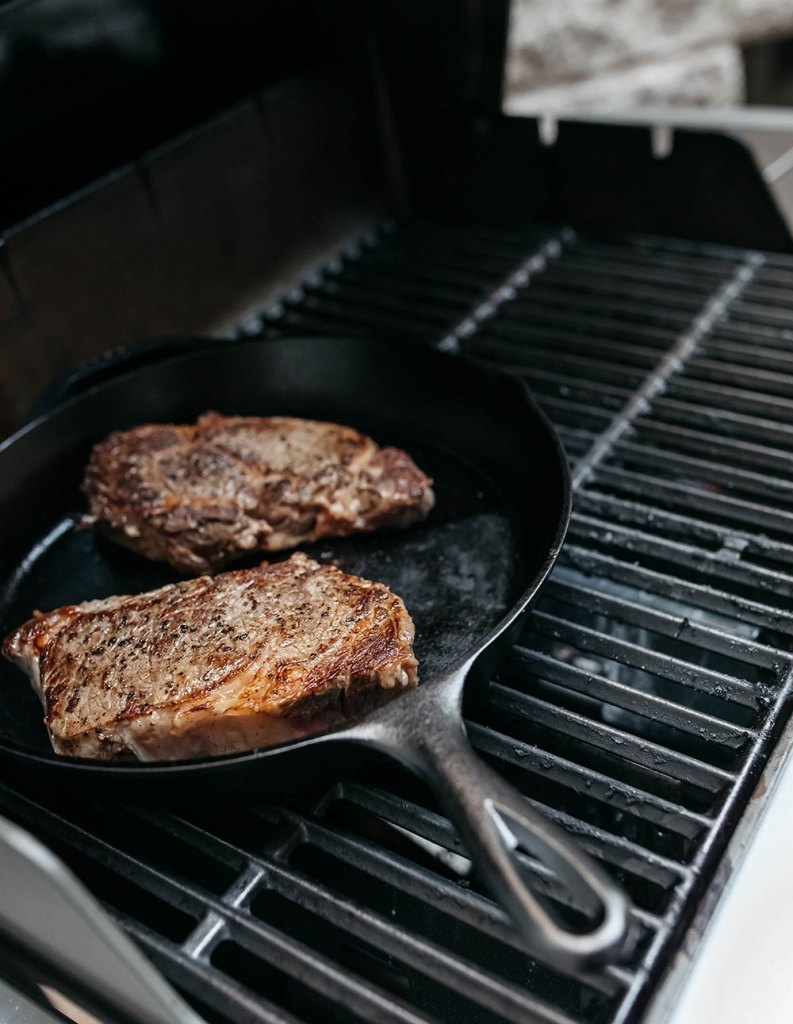 Searing the Ribeye Steaks Before Putting Them on Indirect Heat