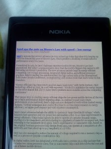 Long lines of tiny type in the Windows Phone browser