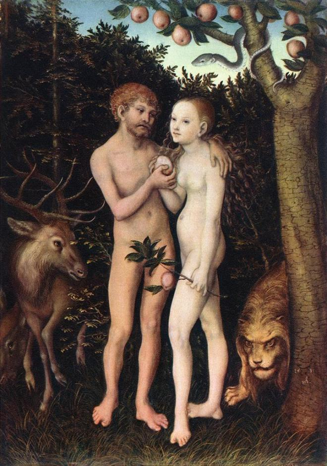 "Hot nude action, medieval style. Painting of ""Adam and Eve"" by Lucas Cranach the Elder, from 1533."