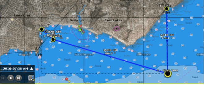 nautical chart showing the course from Capitola to Santa Cruz