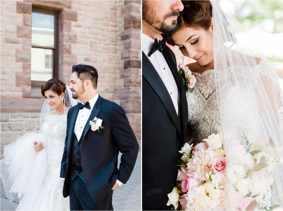Bride and groom in walking in historic architecture street downtown woodstock - Woodstock London Ontario Lebanese middle eastern arab Wedding and engagement photos - Dylan Martin Photography