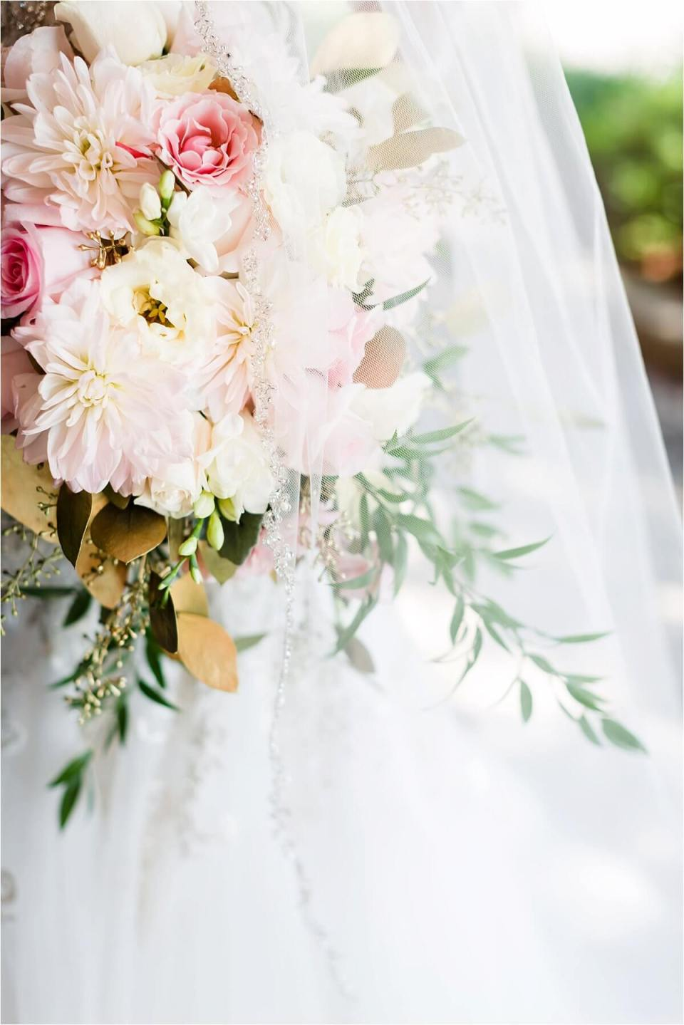Bridal bride bouquet with white blush and gold and greenery - Woodstock London Ontario Lebanese middle eastern arab Wedding and engagement photos - Dylan Martin Photography