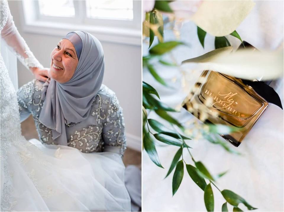 Bride and mother of the bride MOB in blue hijab helping daughter and my burberry wedding day perfume - Woodstock London Ontario Lebanese middle eastern arab Wedding and engagement photos - Dylan Martin Photography