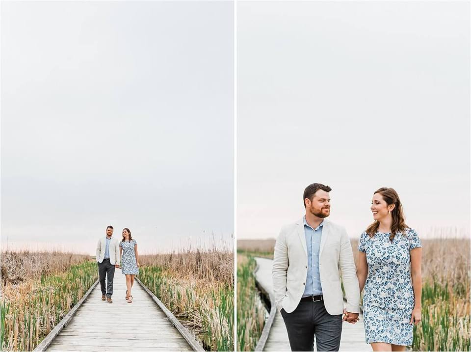 man and woman walking down a boardwalk holding hands - London Stratford Cambridge Woodstock Wedding Photographer by Dylan and Sandra of Dylan Martin Photography