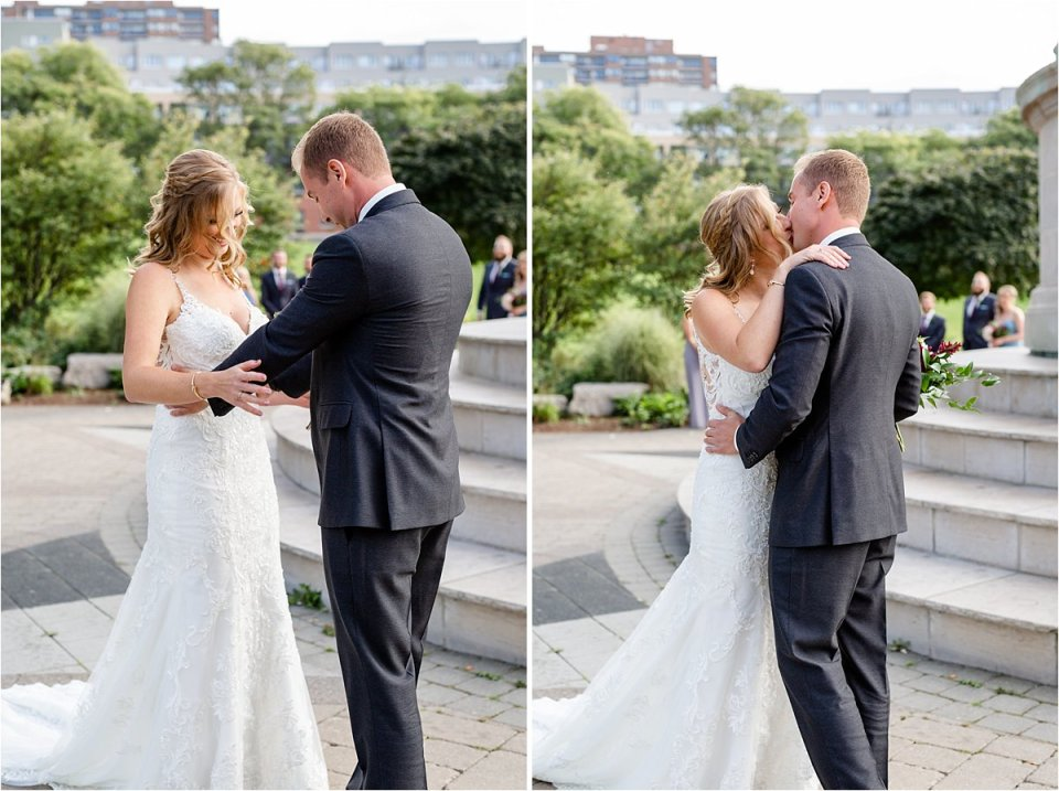 Bride and Groom's first look at Victoria Park in Kitchener Ontario during their wedding day by Dylan and Sandra Photography