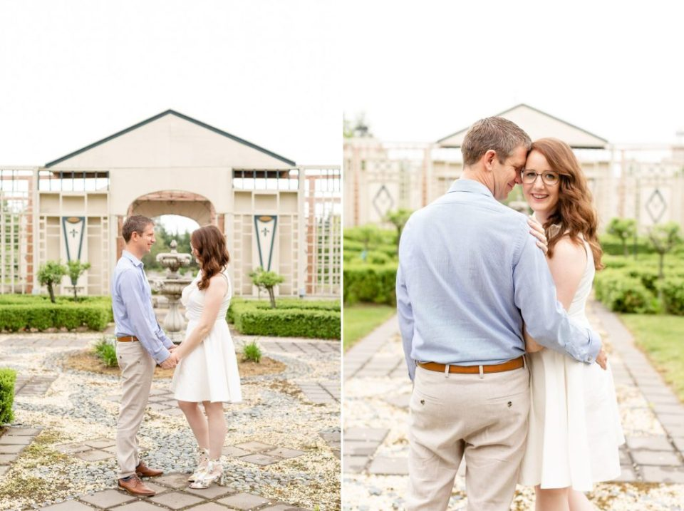 Husband holding his wife close during their summer anniversary photo session