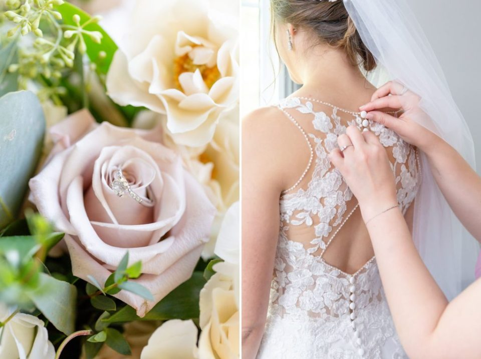 Bridal florals and the bride having her wedding dress done up at Windermere Manor