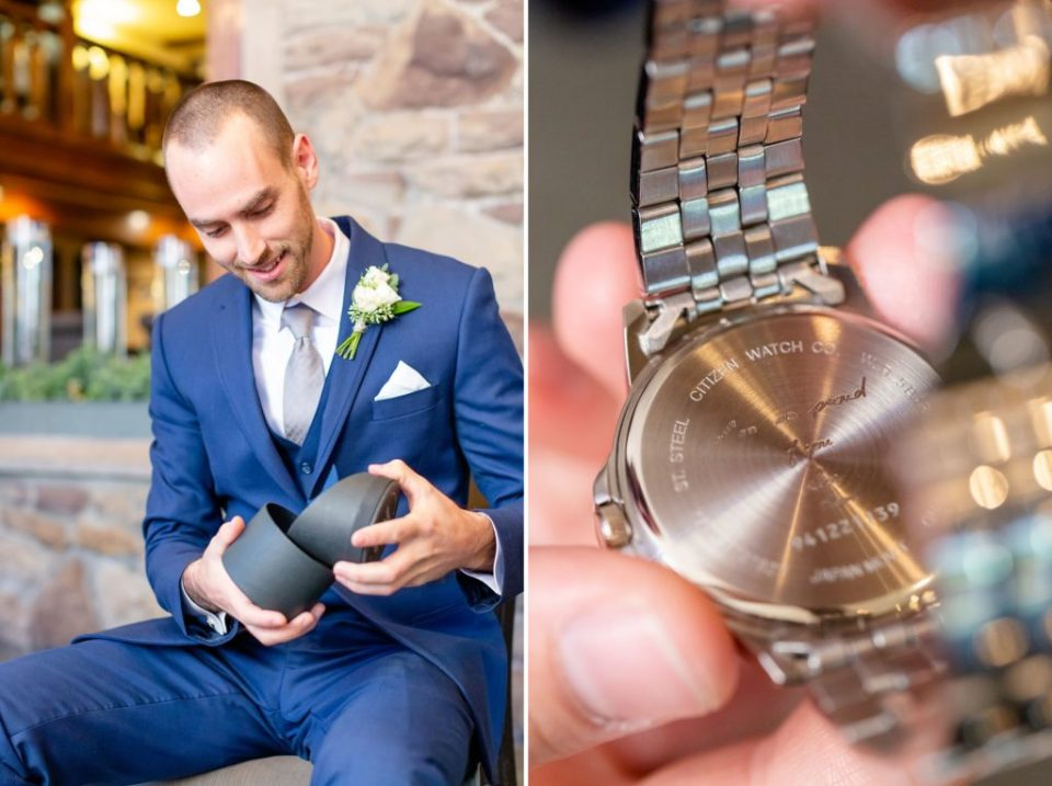 Groom opens a gift from his sister, a watch with engraving from his mother who has recently passed away