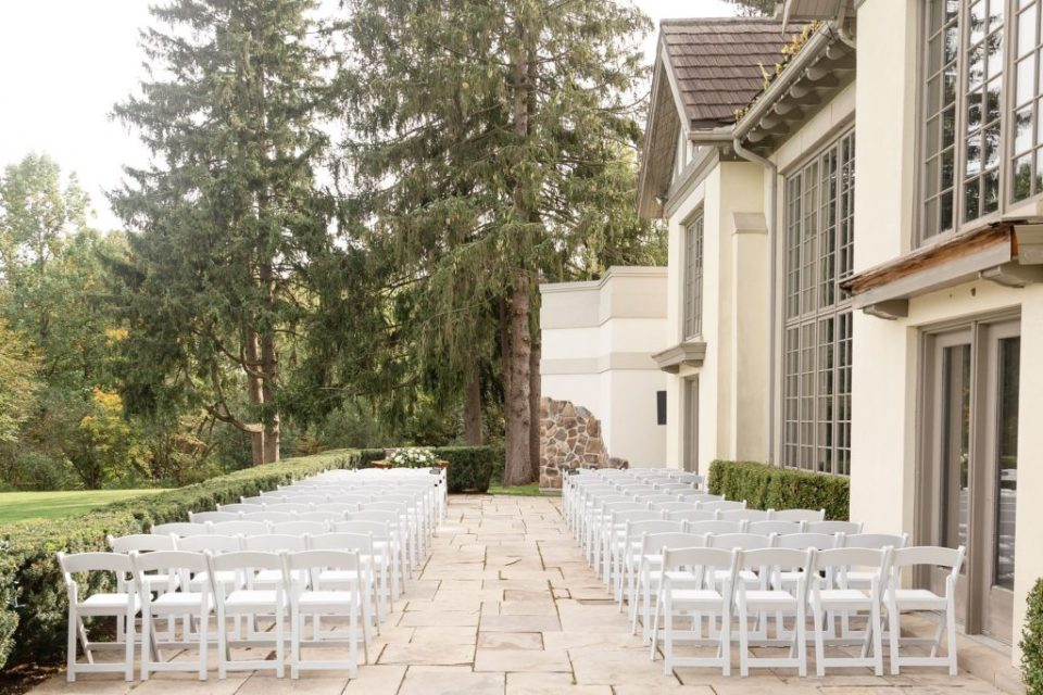 Outdoor ceremony site set up at Windermere Manor in London Ontario