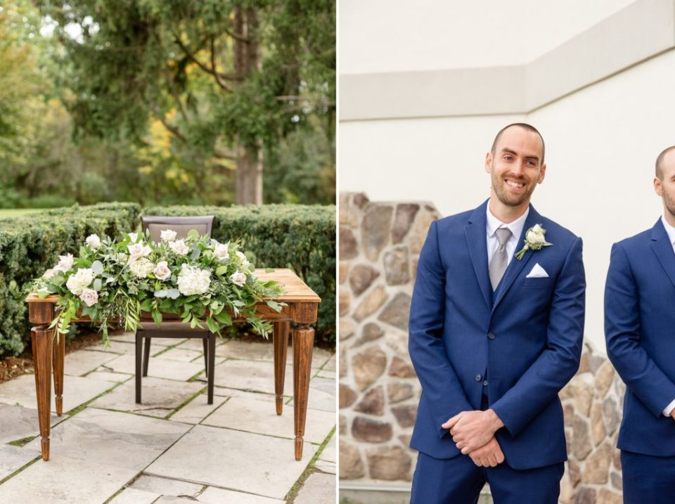 Groom sees his bride coming down the aisle at their outdoor Windermere Manor Ceremony