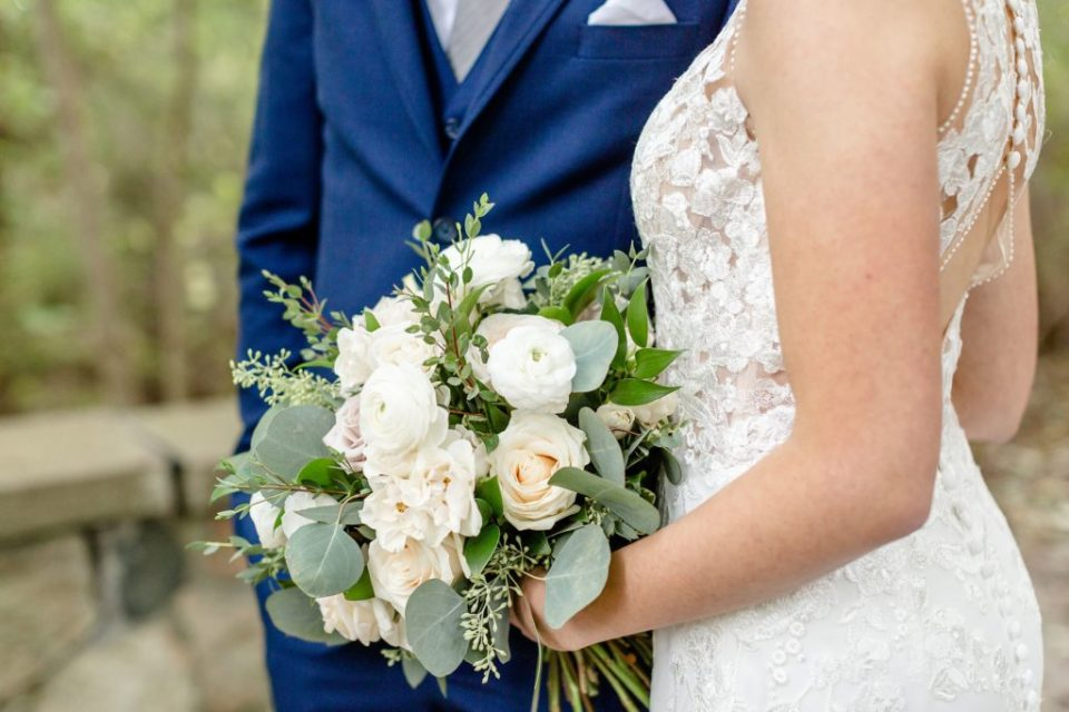 Bride holding her beautiful Spring Hill Flowers bouquet