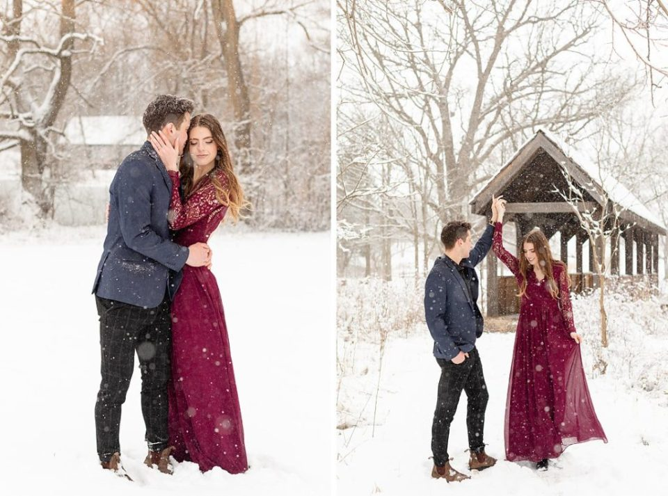 stunning couple dancing and kissing at their winter engagement session