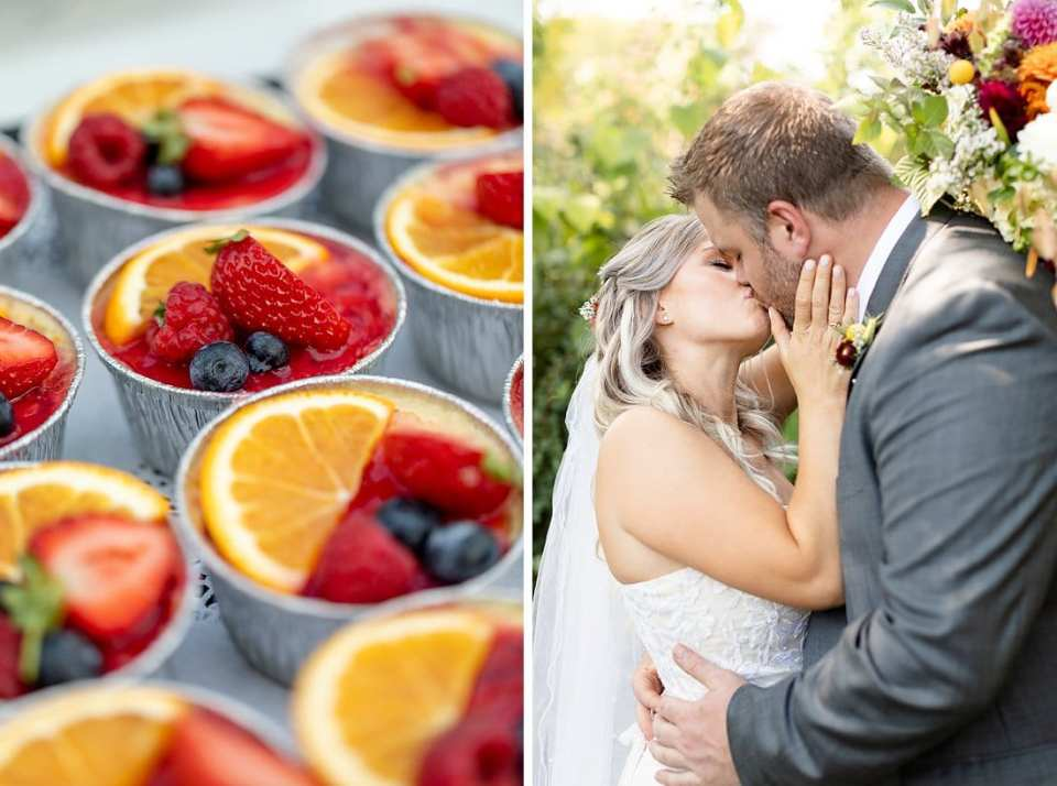 Individual cheesecake topped with fruit as inspiration or ideas for your backyard wedding day. Beside a picture of the bride and groom kissing