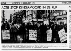 """Newspaper article from December 1972 about another protest led by organization """"Stop de Kindermoord"""" (Source: Bicycle Dutch)"""
