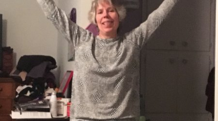 Lori rejoices after a small victory.