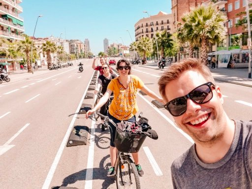 Four people on bikes during the Free Bike Tour, which is a great thing to do in Barcelona