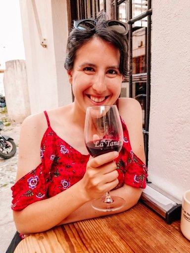 Drinking wine in Granada