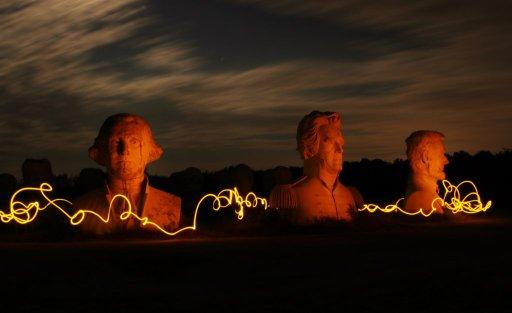 Washington, Jackson, and Lincoln illuminated president heads in Williamsburg, VA