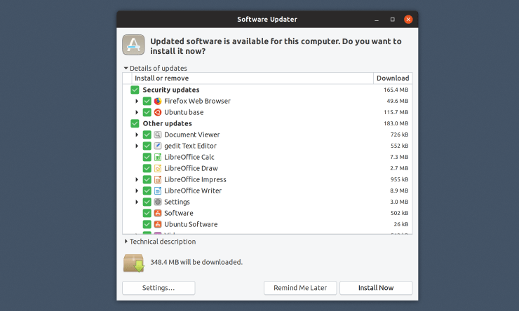 Screenshot of Ubuntu's software updater