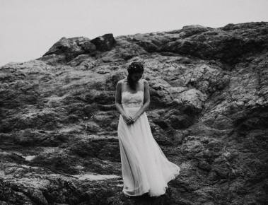 black and white bhldn wedding dress bride photo