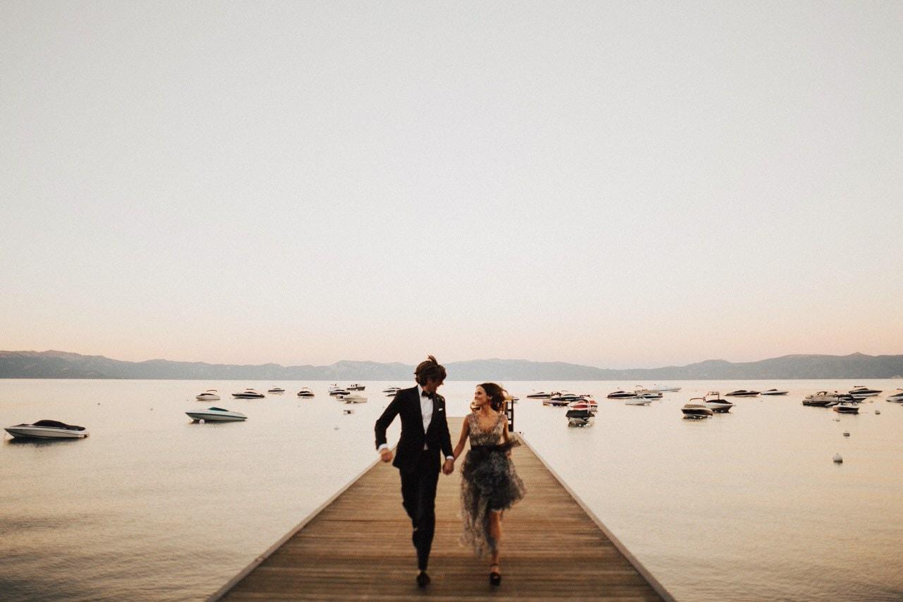 running dock wedding photo