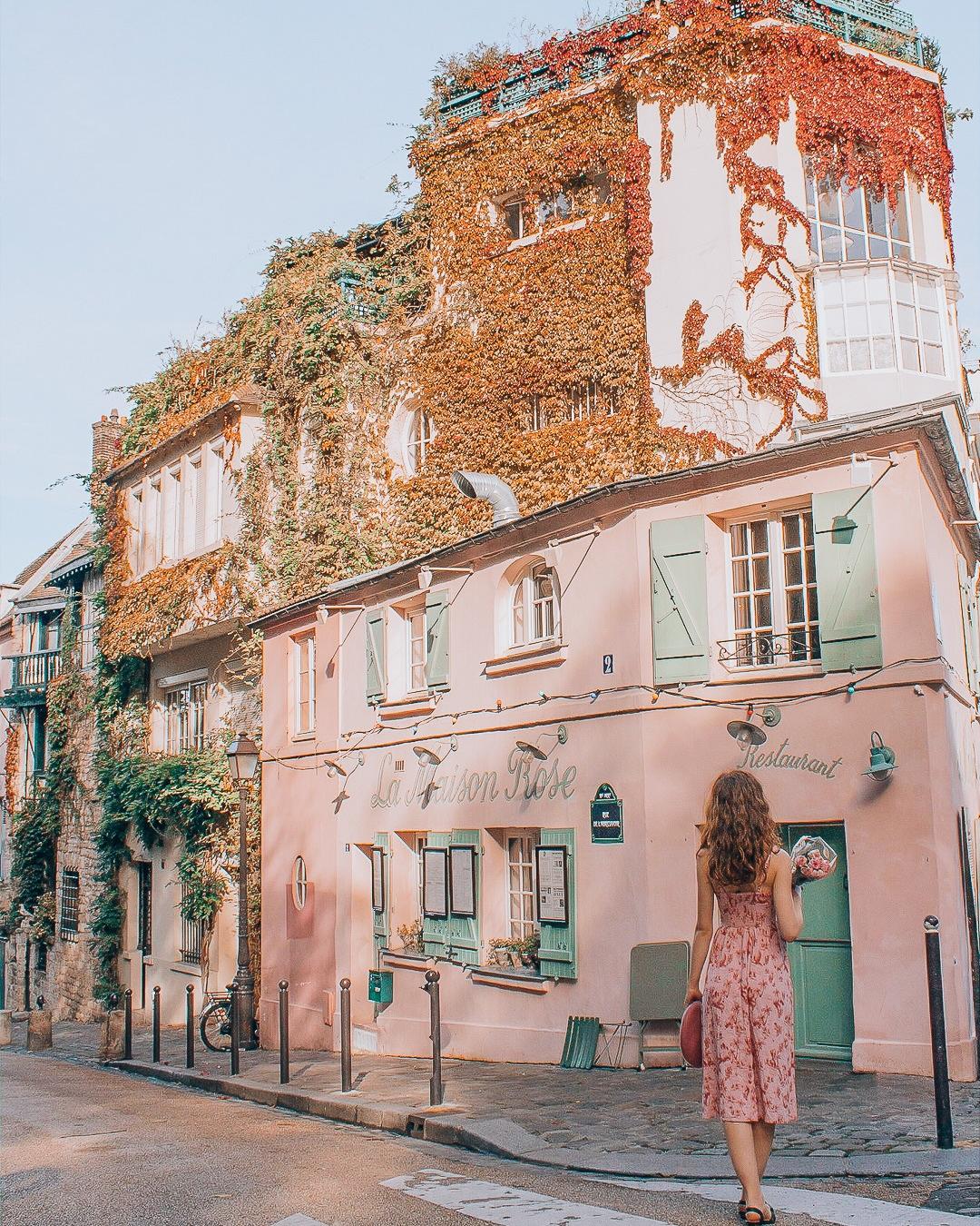 Girl in front of La Maison Rose in Paris