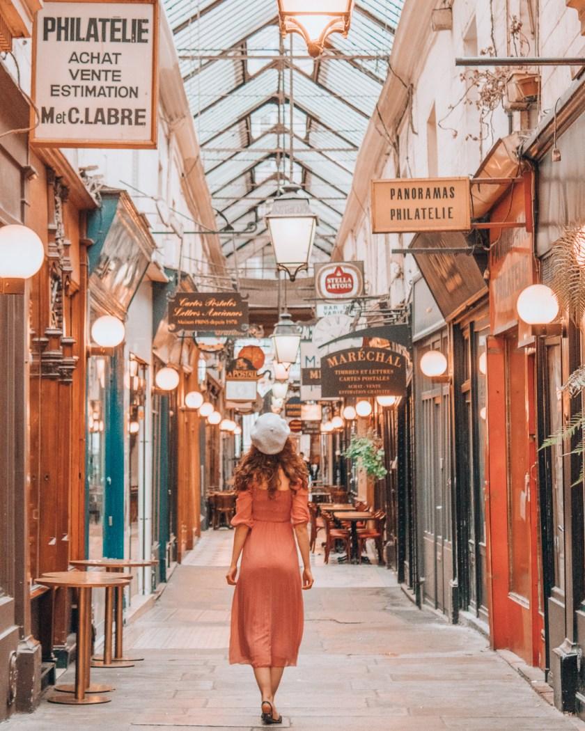 Girl inside Passage des Panoramas Paris