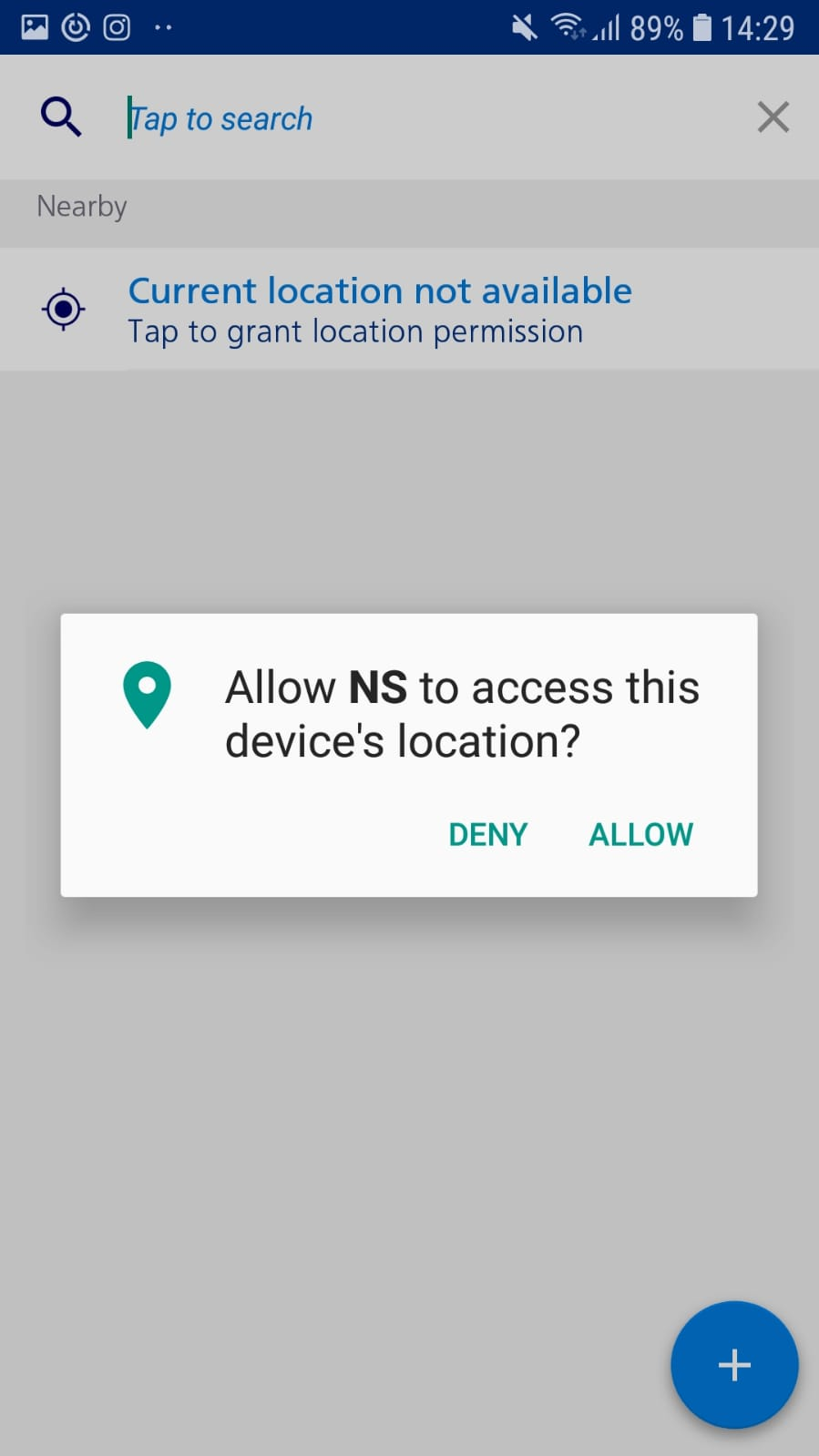 Example how to allow access to location in NS app