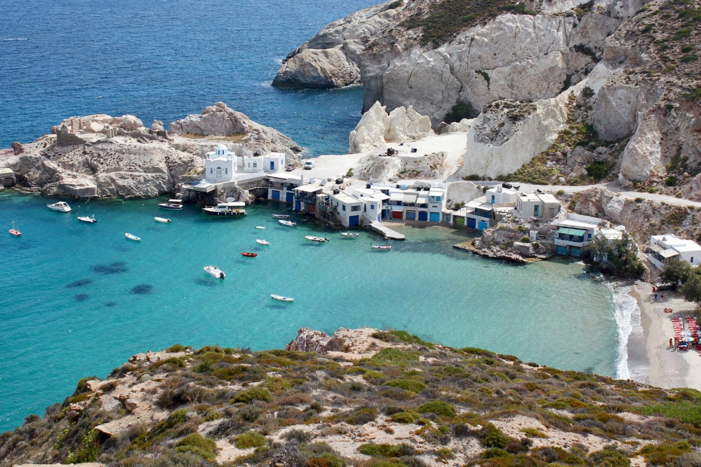 Water, houses and boats in Milos