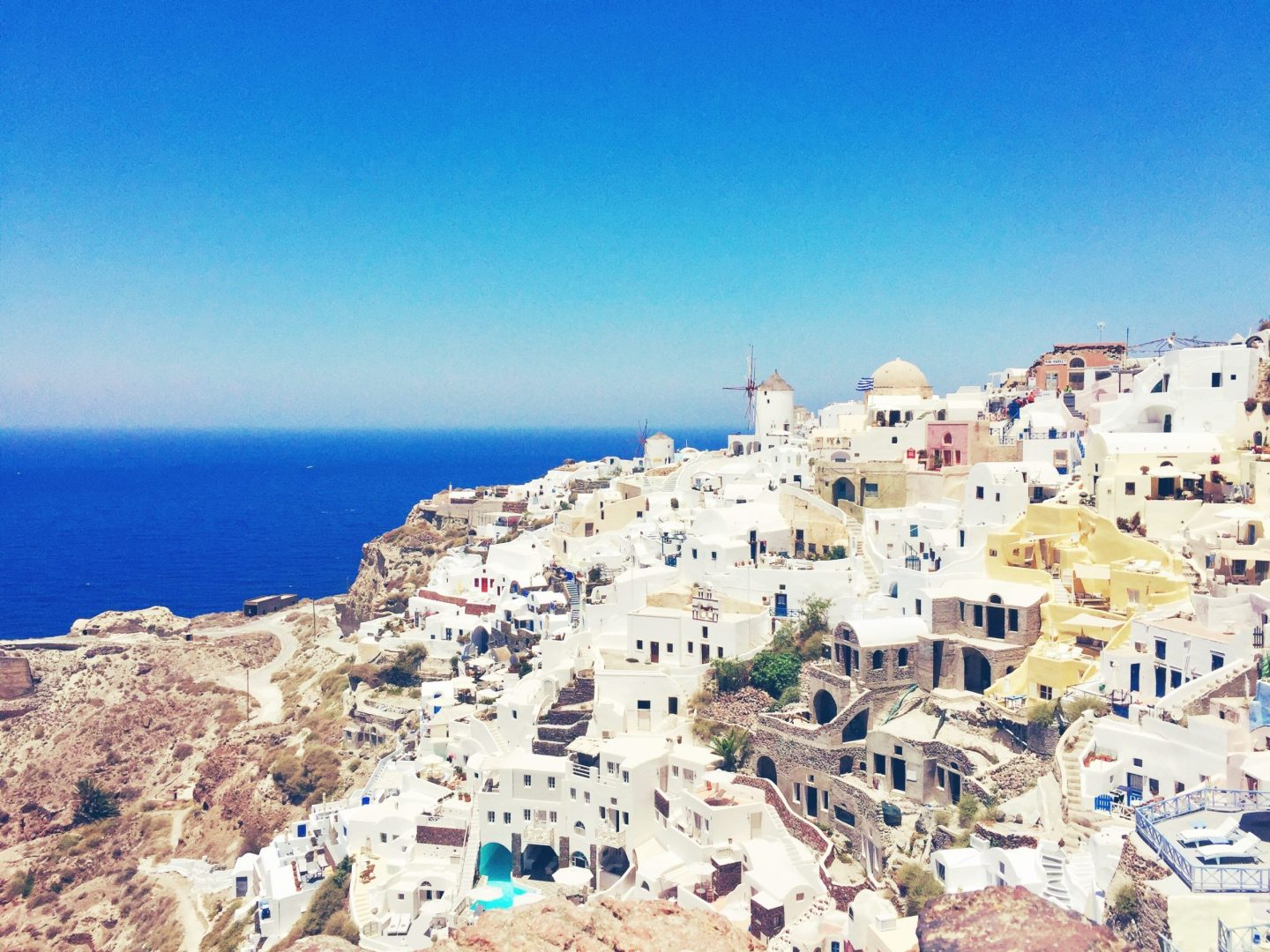 White houses and blue water in Oia, Santorini