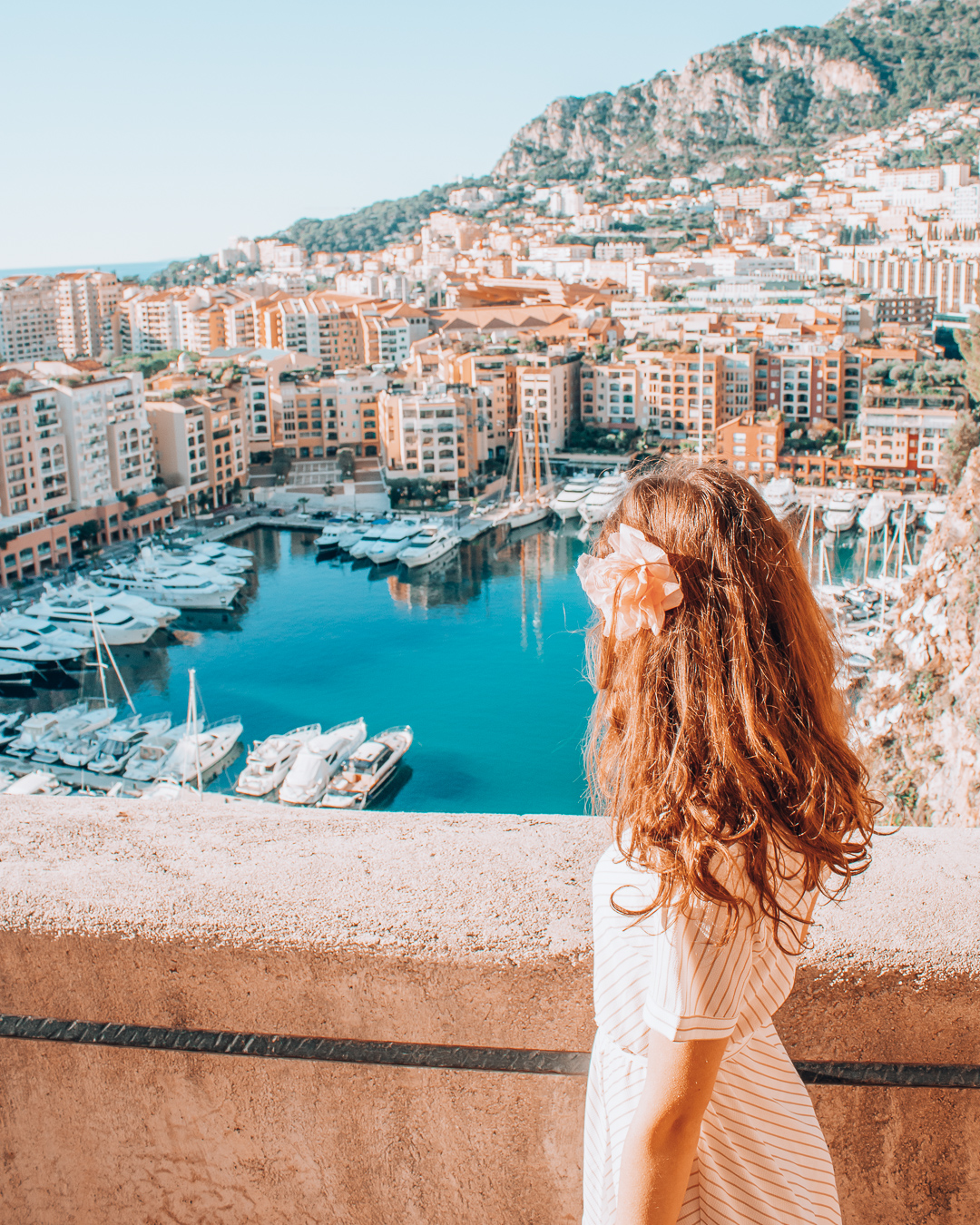 Girl looking at view in Monaco