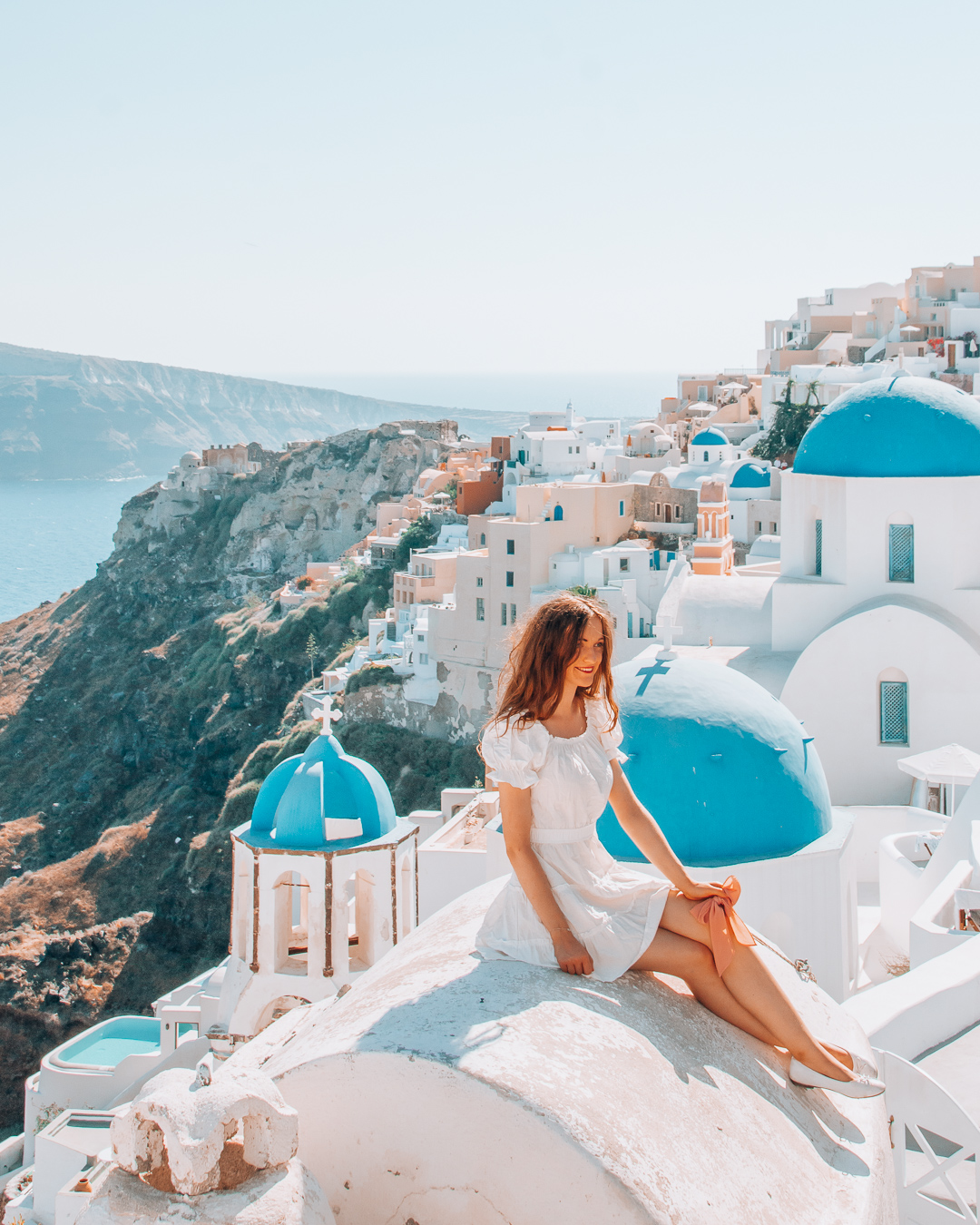 View of blue domes in Santorini
