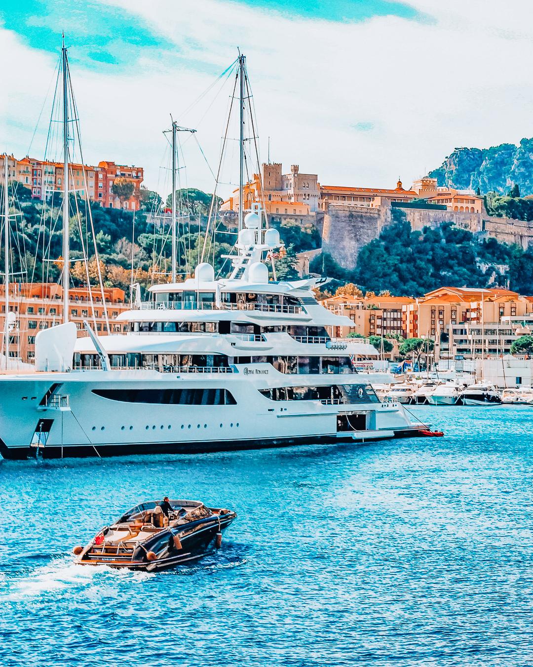 Yacht in blue water